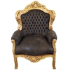 fauteuil-baroque-marron-dore