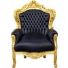 Fauteuil rococo en bois doré et simili-cuir noir Stockholm