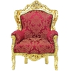 Fauteuil baroque en bois doré et tissu rouge Stockholm