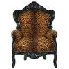 Trône royal en bois noir et tissu léopard Stockholm