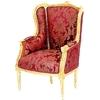 Bergère de style Louis XVI en hêtre doré et tissu rouge Turgot