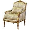 Bergère style Louis XVI en bois doré et tissu beige Chambord