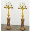 Paire de lampes royales sur pied en marbre rouge et bronze Malmaison