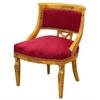 Chaise style Empire retour d'Egypte en loupe d'orme et velours rouge Iéna