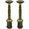 Paire de colonnes en mabre vert 106 cm Bazoches