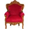 Fauteuil baroque royal en hêtre massif velours rouge Stockholm