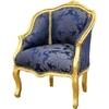 Bergère style Louis XV en bois doré et tissu bleu Boussac