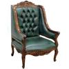 Fauteuil style anglais victorien en acajou capitonné vert Buckingham