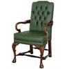 Fauteuil style anglais Queen Anne en acajou capitonné vert Glasgow