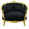 Canapé style Louis XV en hêtre doré et velours noir Boussac