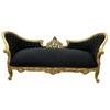Canapé style Napoléon III en bois doré et velours noir Compiègne