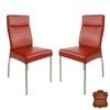 Chaises-cuir-veritable-rouge