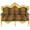Canapé royal en hêtre doré et tissu léopard Stockholm