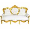 Canapé royal en bois hêtre doré et simili-cuir blanc Oslo