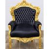 Fauteuil royal dore noir
