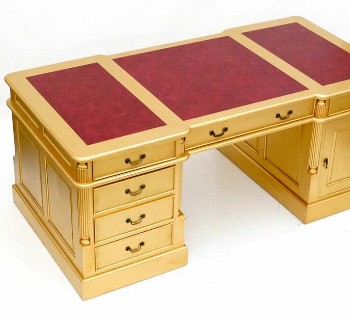 bureau dor de style anglais 180 cm acajou sous main rouge. Black Bedroom Furniture Sets. Home Design Ideas