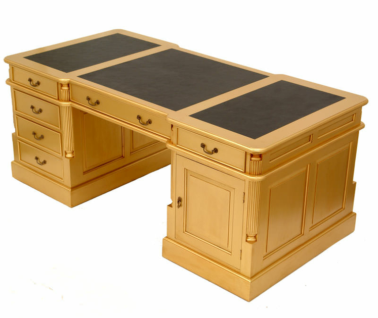 bureau dor anglais 180 cm acajou sous main noir. Black Bedroom Furniture Sets. Home Design Ideas