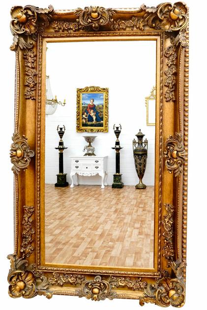 Miroir baroque cadre en bois dor 156x95 cm miroirs for Miroir cadre dore