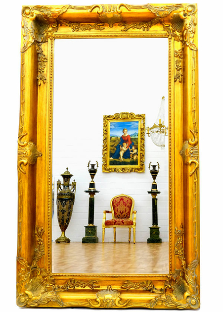 grand miroir baroque 150x90 cm cadre en bois dor. Black Bedroom Furniture Sets. Home Design Ideas
