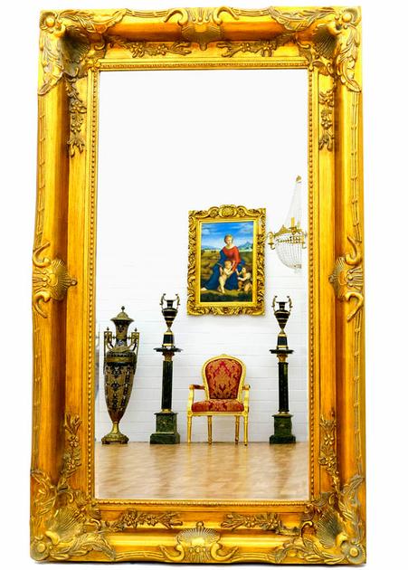 grand miroir baroque 150x90 cm cadre en bois dor. Black Bedroom Furniture Sets. Home Design Ideas