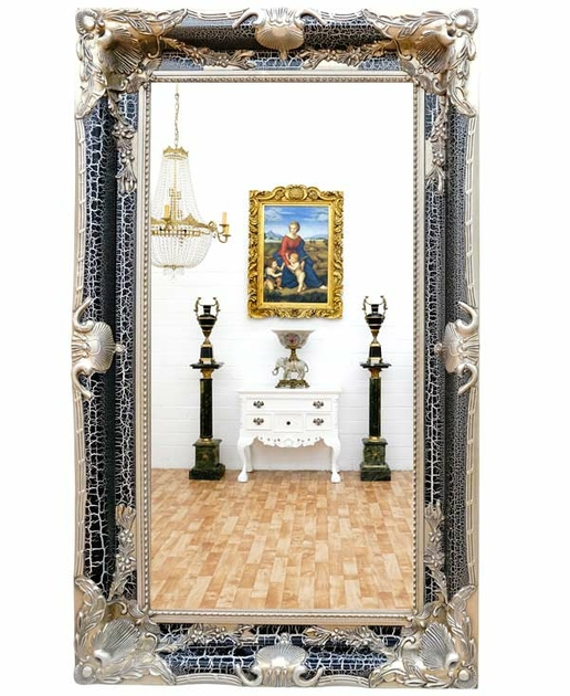miroir baroque cadre en bois noir 150x90 cm miroirs. Black Bedroom Furniture Sets. Home Design Ideas