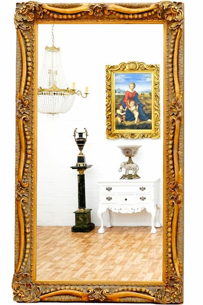 Miroir baroque cadre en bois dor 138x78 cm miroirs for Miroir cadre dore