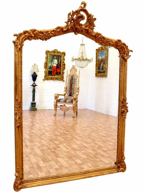 Miroir baroque cadre en bois dor 146x102 cm miroirs for Miroir baroque dore
