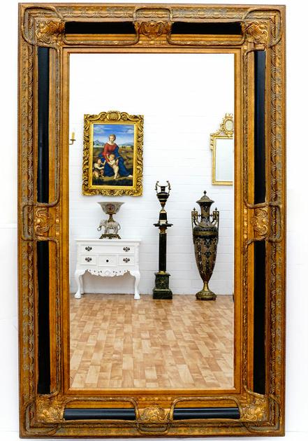 Miroir baroque cadre en bois noir et dor 160x98 cm for Miroir bois noir