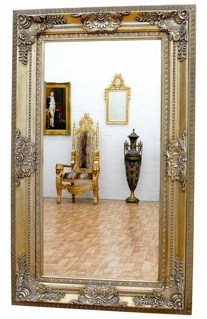 Miroir baroque cadre en bois argent 156x95 cm miroirs for Grand miroir baroque blanc