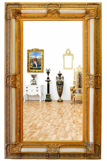 Miroir rocaille cadre en bois dor et blanc 160x98 cm for Miroir store