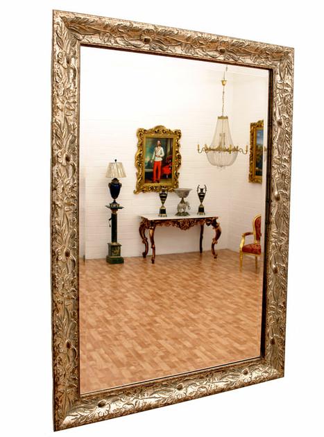 Miroir baroque cadre en bois argent 88x62 cm miroirs baroque classic stores - Miroir baroque argente ...