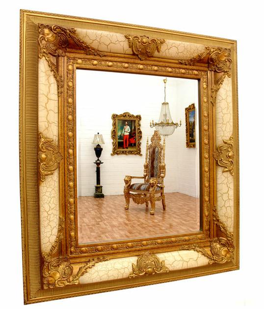 Miroir baroque cadre en bois dor blanc 78x68cm miroirs for Miroir baroque dore