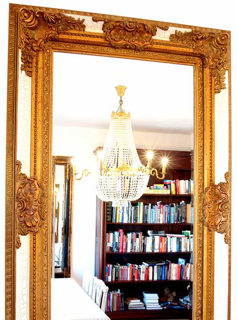 Miroir rocaille cadre en bois dor et blanc 154x94 cm for Miroir store