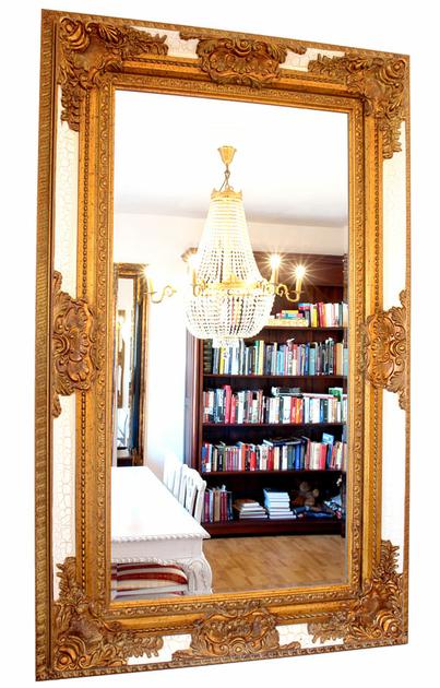 Miroir rocaille cadre en bois dor et blanc 154x94 cm for Miroir cadre bois blanc