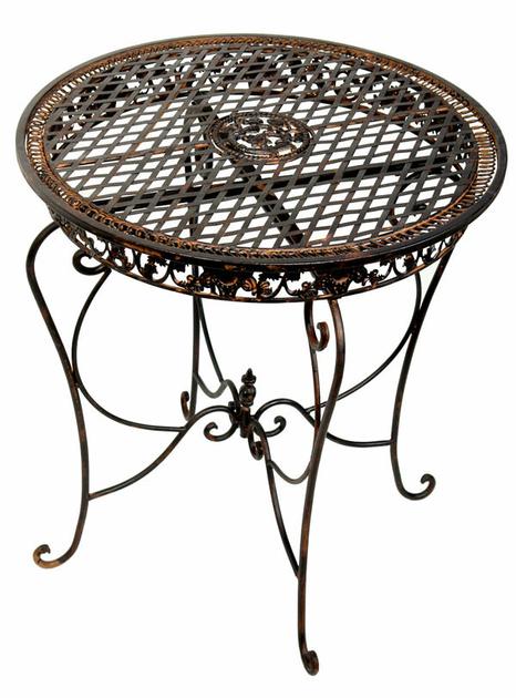 Table de jardin en fer forg brun mobilier et d coration for Table de jardin fer forge