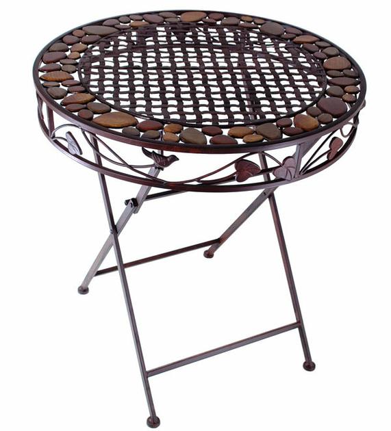 table en fer forg brun mobilier et d coration de jardin. Black Bedroom Furniture Sets. Home Design Ideas