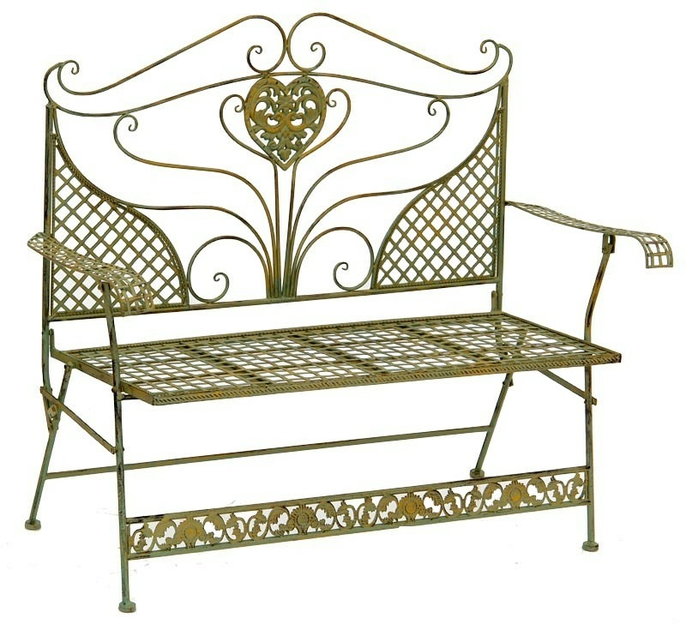 banc de jardin style anglais victorien en fer forg vert. Black Bedroom Furniture Sets. Home Design Ideas