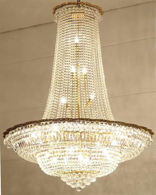 Lustre montgolfi re style empire en cristal 27 feux arcelot - Produit nettoyage lustre cristal ...