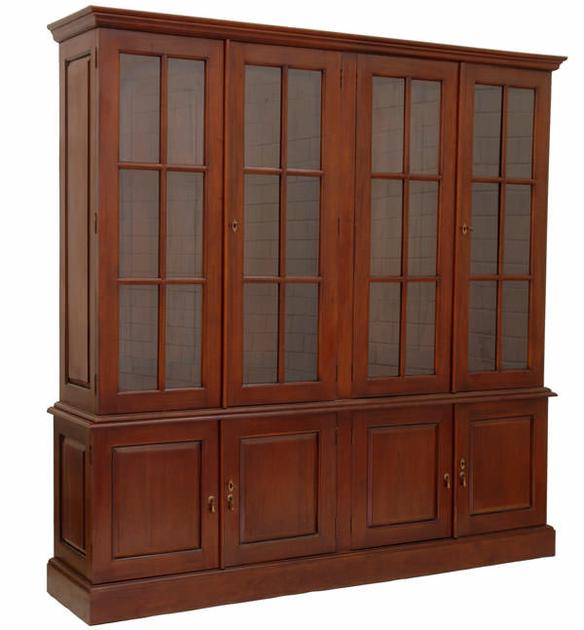 biblioth que avec vitrine style empire en acajou meubles de style biblioth ques tag res. Black Bedroom Furniture Sets. Home Design Ideas