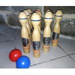 jeu de quilles en bois Ricard lot de 9 quilles et 2 boules