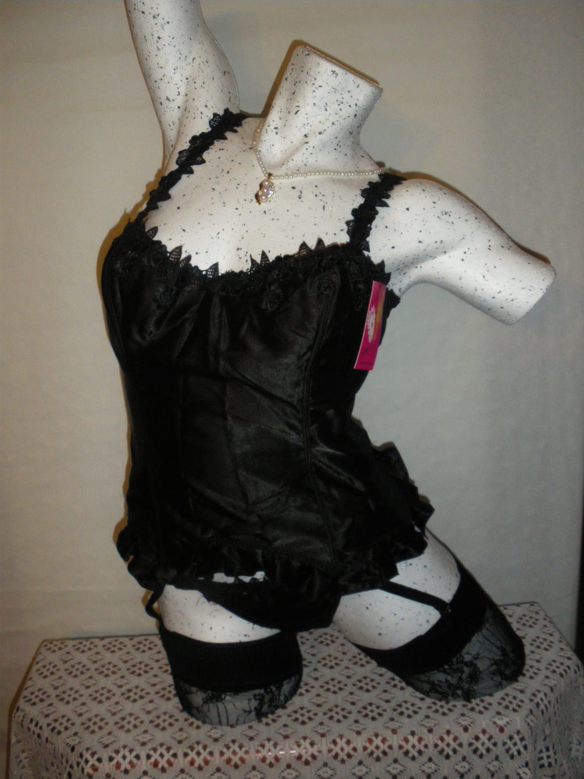 guepiere et string en satin noir ref 36303n sansellemarianne lingerie femme gu pi res. Black Bedroom Furniture Sets. Home Design Ideas