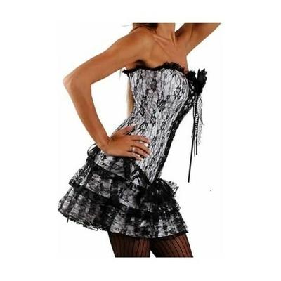 D2162gris3pieces corset jupe string chantefeuille