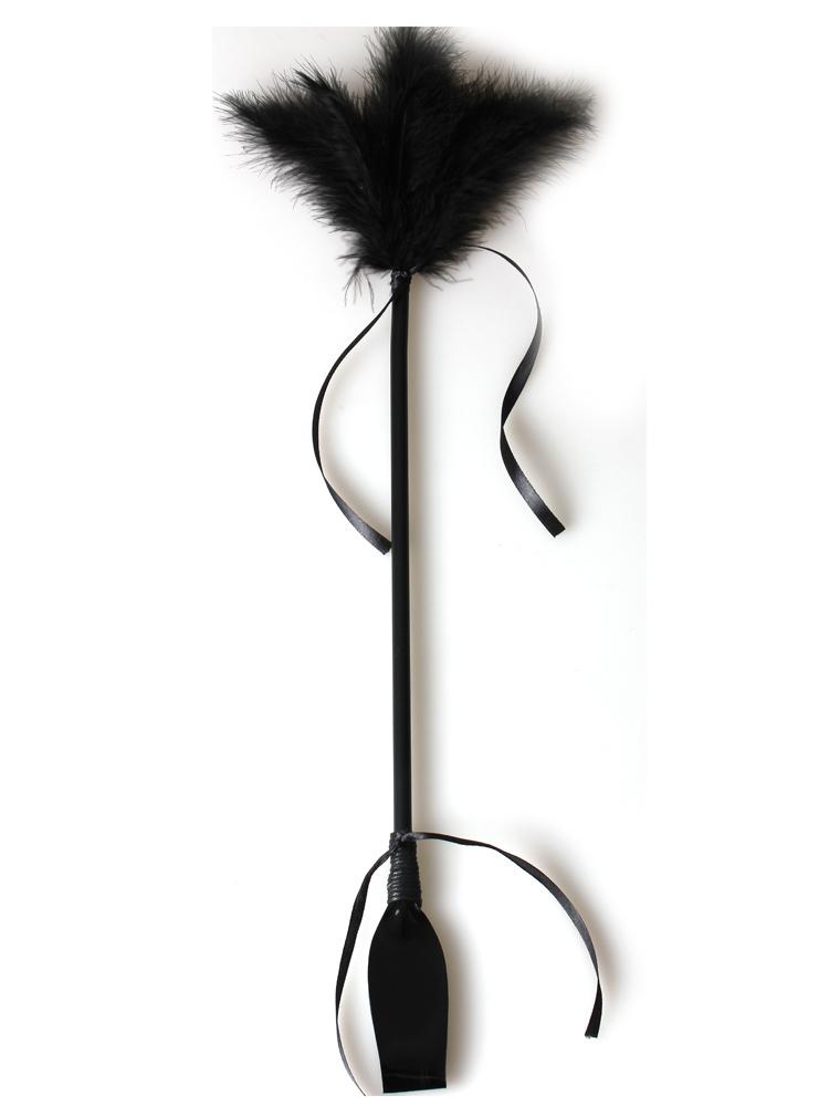 Cravache avec Plumeau noir 50 cm