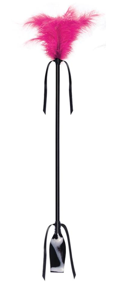 Cravache avec Plumeau fuchsia 50 cm