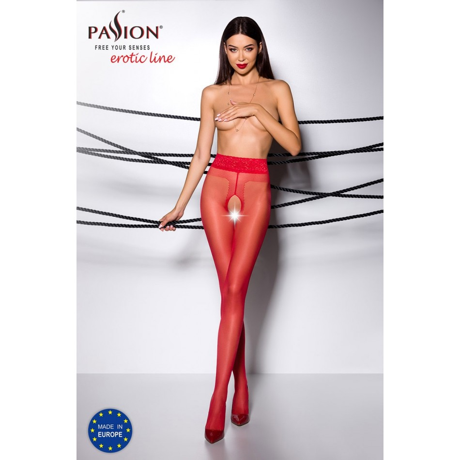 Collant Ouvert Rouge TI001