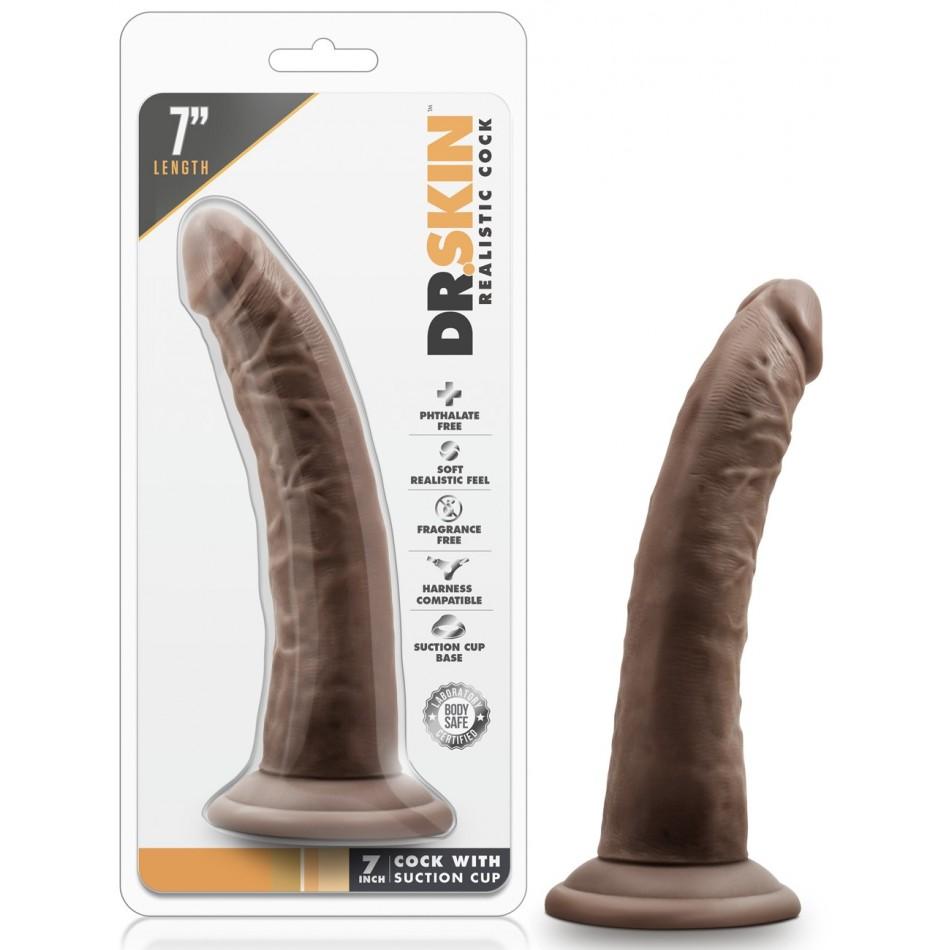 Gode Ventouse Chocolat Réaliste DR Skin Basic - 18 cm