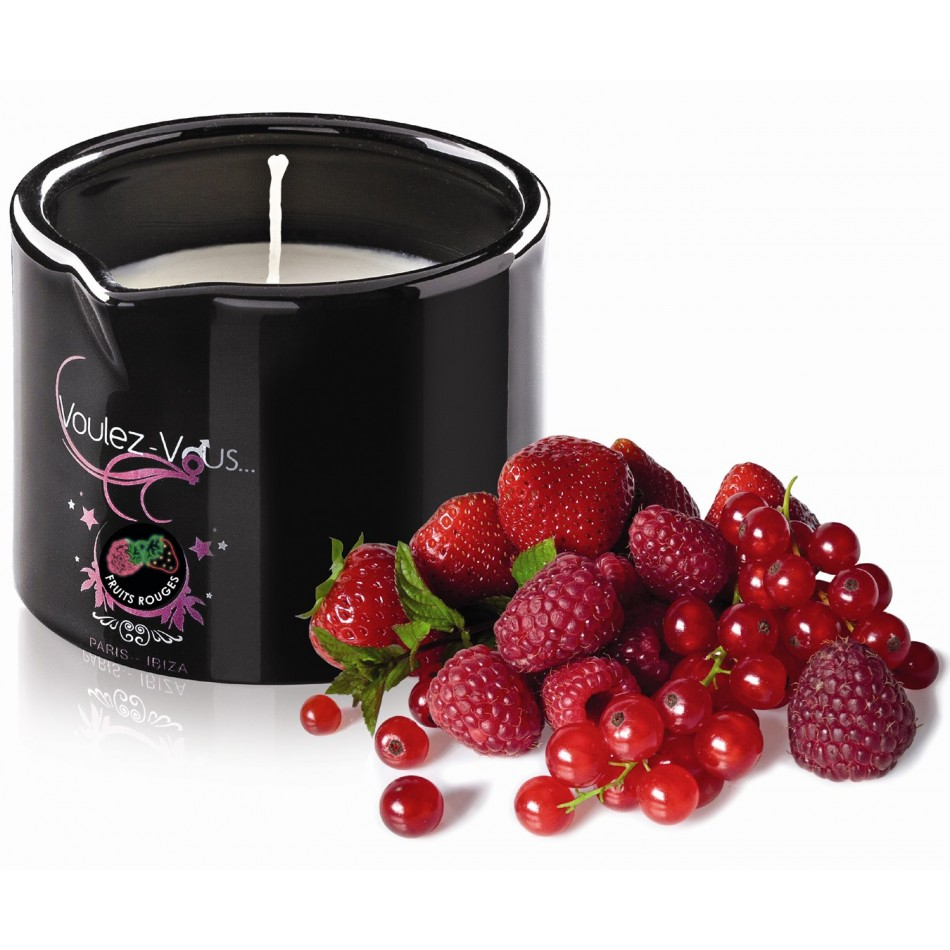 Bougie de massage gourmande Fruits rouges - 180 gr