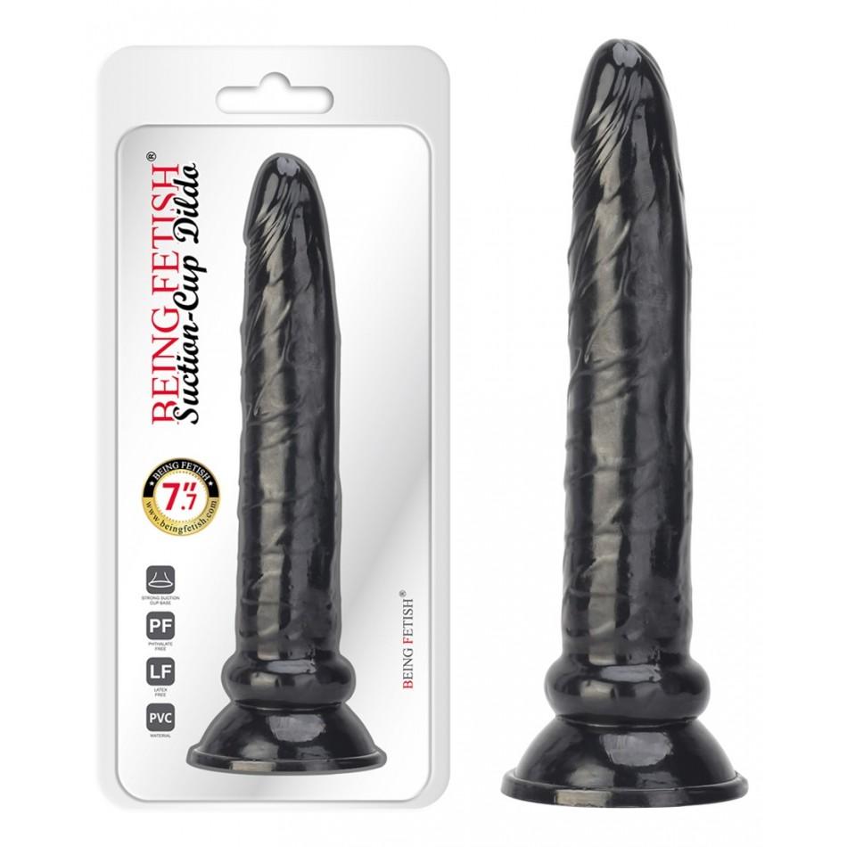 Gode anal fin noir réaliste à ventouse - 19 cm