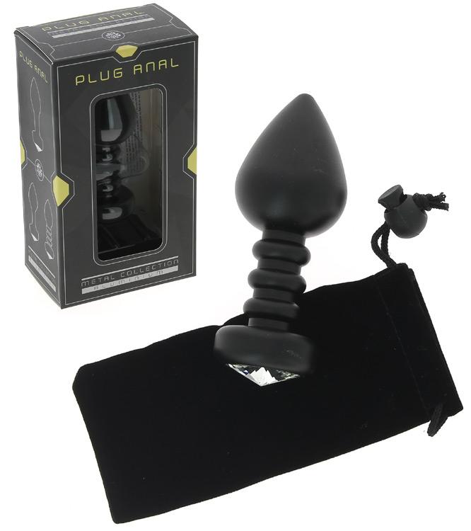 Plug anal noir strié en aluminium Ø 3,8 cm