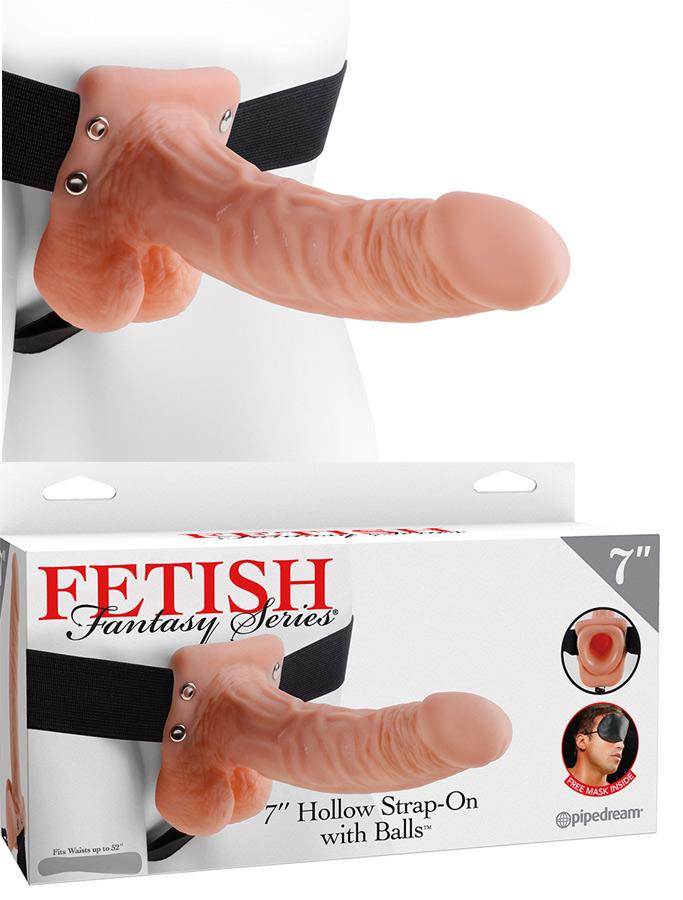 Gode ceinture creux avec testicules 19 cm
